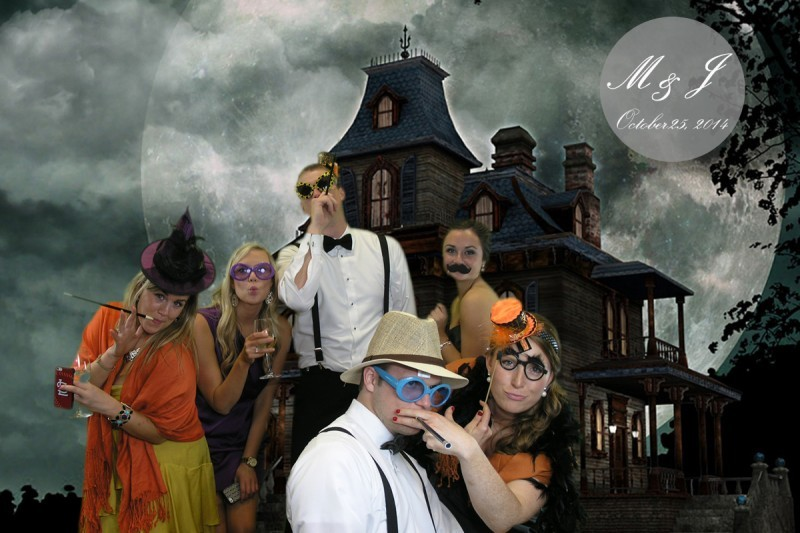 Wedding guests in hunted house