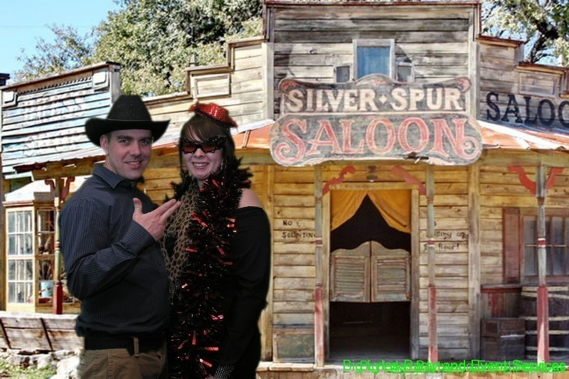 Couple by old time saloon